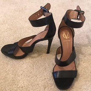 Vince Camuto black open-toe heels